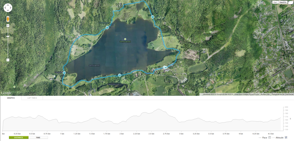 Kart over løype rundt Semsvann for opptaksprøver